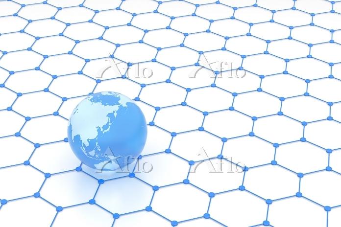 地球儀と六角形の模様 CG