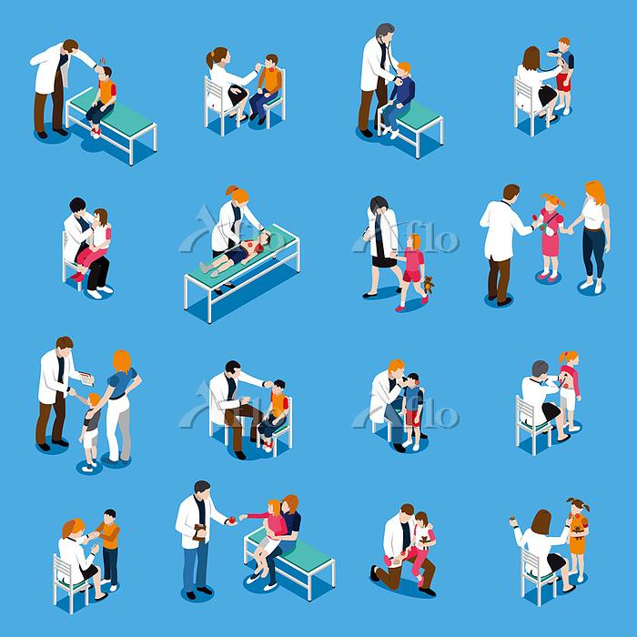Child Diseases Isometric Icons・・・