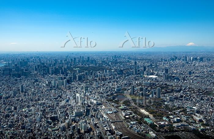 東京都 上野恩賜公園と上野駅周辺より富士山