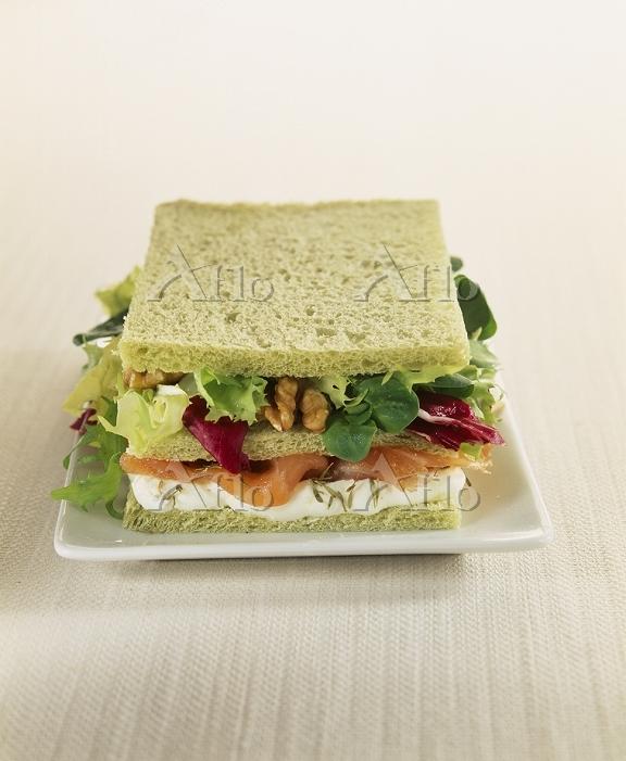 Salmon and walnut sandwich