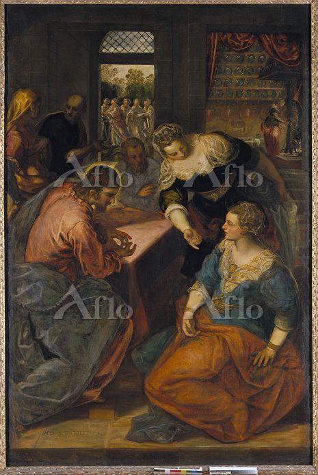 ティントレット 「マリアとマルタの家のキリスト」