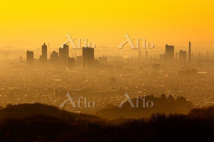 神奈川県 橋本の高層ビル群の朝