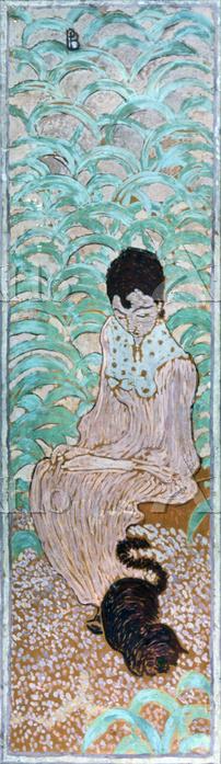 ピエール・ボナール 「庭の女性たち 猫と座る女性」