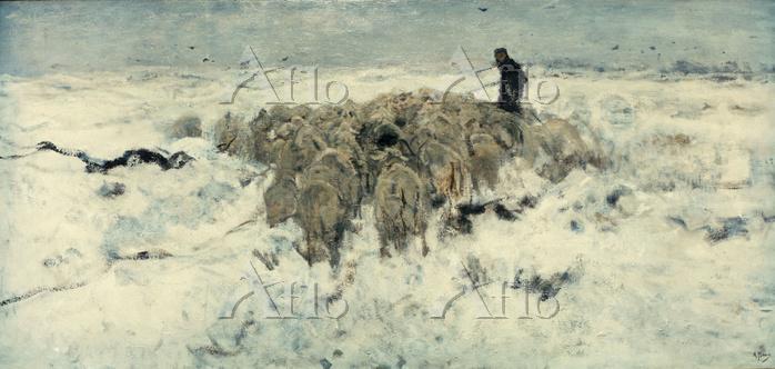 アントン・モーヴ「雪の中の羊飼いと羊の群れ」